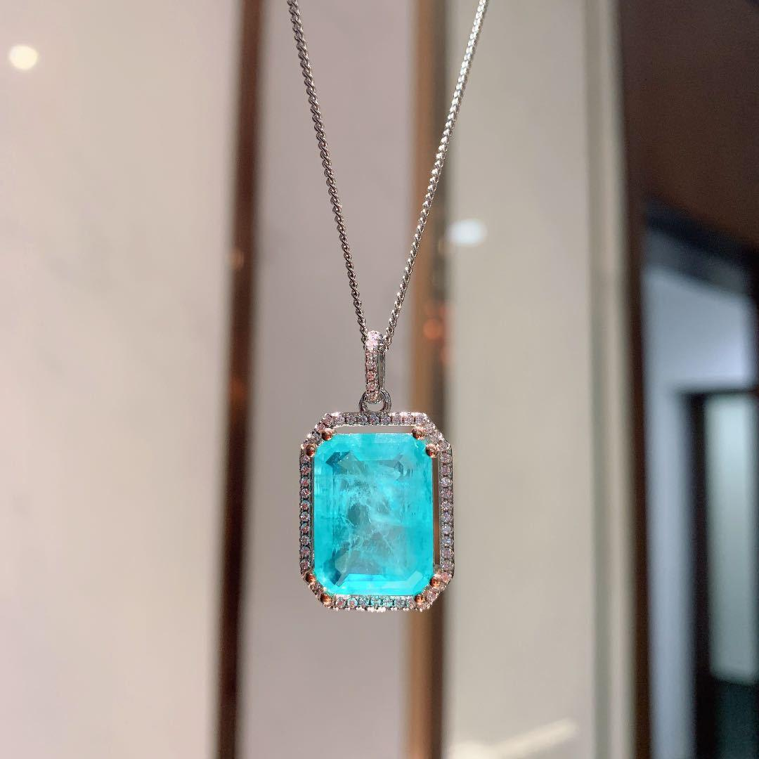 Aiyanishi Luxury 925 Стерлинговое серебро Изумрудный Параиба Турмалиновый драгоценный камень Свадебный участок Свадебное обручение Прекращенное ювелирное дерево ожерелье