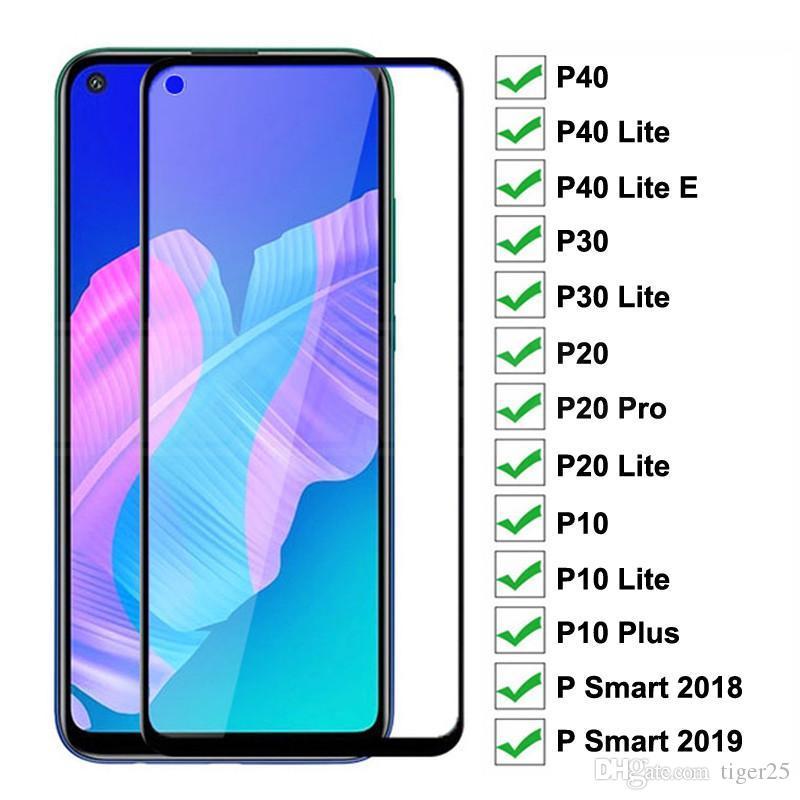 9D vidro protetor em para Huawei P20 Pro P10 mais P30 P40 Lite E P Smart 2019 Protetor de Tela Temperada Filme de Proteção