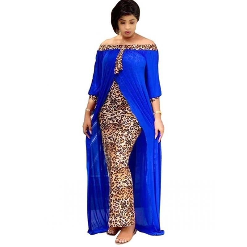 2021 봄 가을 패션 느슨한 레오파드 여성 Maxi Long Split Gown 레저 야외 패치 워크 Strapless 섹시한 아프리카 드레스