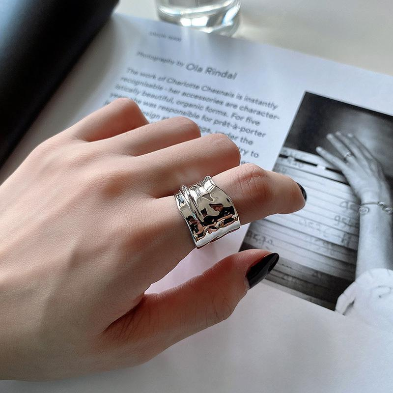Wide Gloss Rings 925 Sterling Silver Punk Jewelry Charm Bohemia Minimalism Birthday Gift Haut Femme Rings for Women Anillos J1208