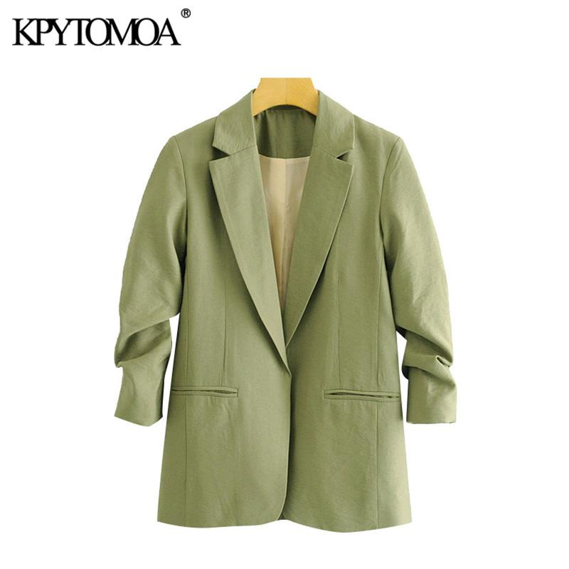 KPYTOMOA Frauen 2020 Mode Büro Tragen Taschen Blazer Mantel Vintage Falten Dreiviertel Sleeve Weibliche Oberbekleidung Chic Tops X1214