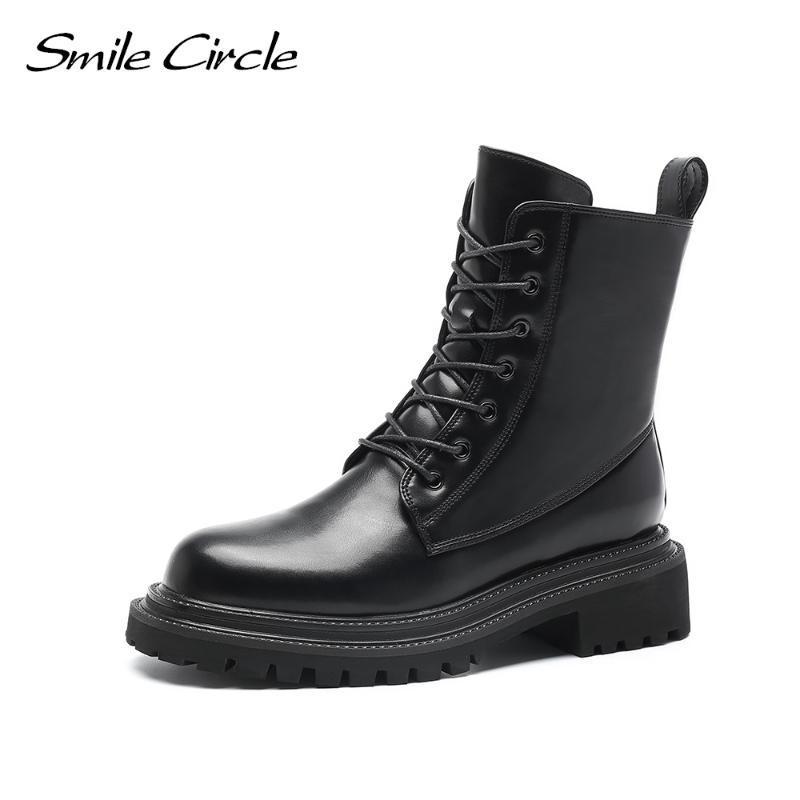 Botas sorrir círculo chunky tornozelo mulheres pretas motocicleta plataforma sapatos moda inverno quente zíper senhoras botas
