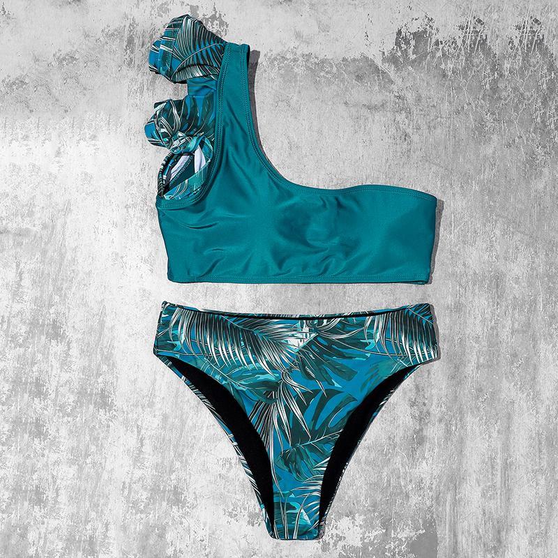 ZTVITALY Ruffles Una spalla Sexy Bikini 2021 Nuovo arrivo foglie imbottita costume da bagno in vita alta swimwear donne bikini brasiliano