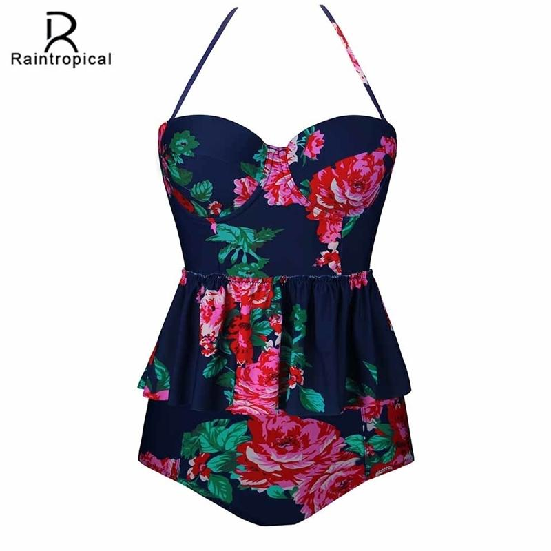 Raintropical New Sexy Mulheres Swimsuit Plus Size Swimwear Tankini Strappy Swimwear Patchwork Imprimir Ternos de Banho Feminino 5XL Y200319