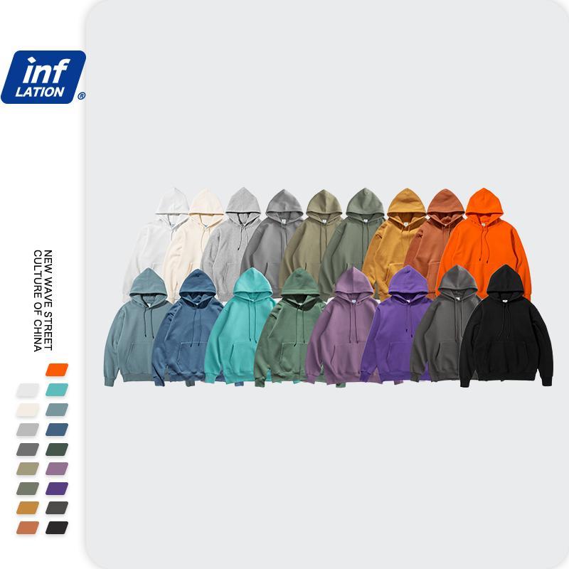 Inflação Outono Mens Grosso Hoodies Hoodies Hip Hop Puro Hoodies Puro Tecidos de Veludo Grossa Hoodies de Inverno para Homens Mulheres 167W17 201118