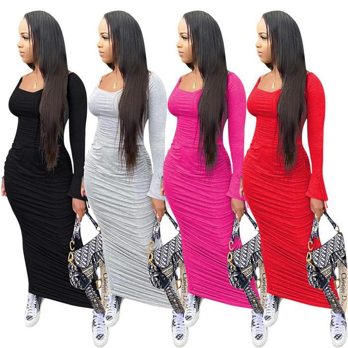 Bayan Seksi Pileli Elbiseler Slash Boyun Çan Uzun Kollu Kazak Elbise Kadınlar Için Sonbahar Moda Ince Bodycon Giyim
