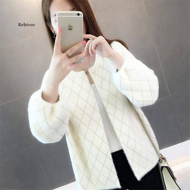 femminile maglione imitazione breve cappotto autunno e inverno Nuovo allentato bicchierino di modo Cardigan Camicia
