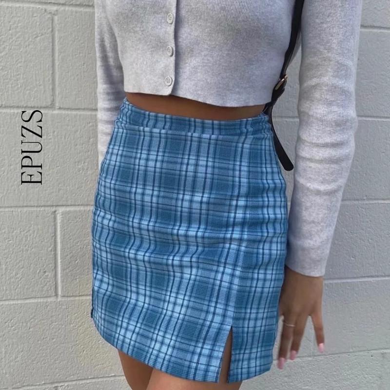 Сексуальная высокая талия синяя клетчатая клетчатка женские женщины старинные kawaii карандашные юбки женские плед мини юбка летом сладкий корейский фалдас mujer 201109