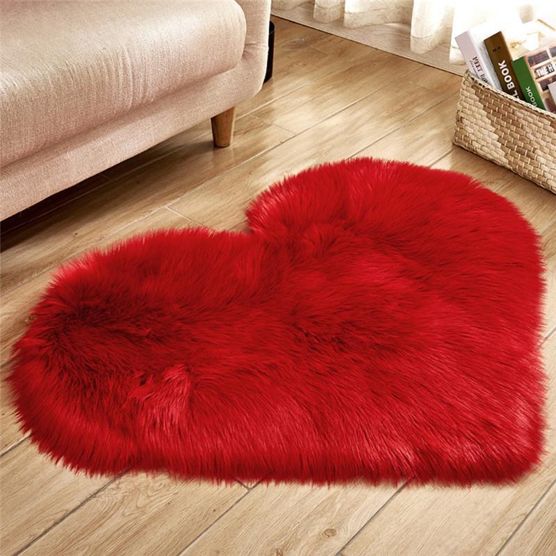 Plüsch Herzform Matte Wohnzimmer Büro Imitation Wolle Teppich Schlafzimmer Weiche Zuhause Nichtrutsche Teppiche DHF3575