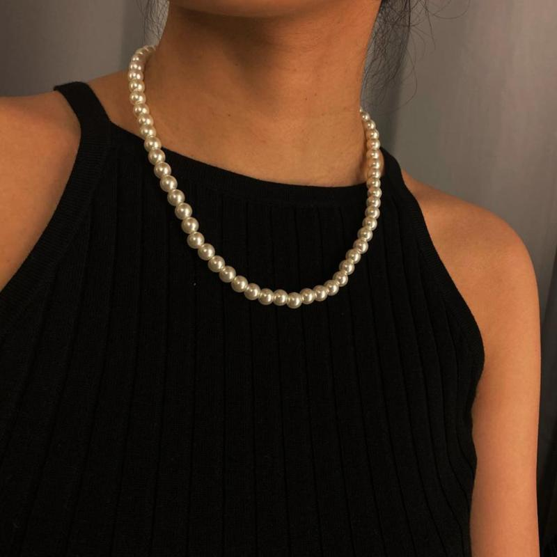 Gothic Baroque Pearl Tassel Chain Necklace for Women Bridal Wedding Strand Beaded Sweet Female Choker White Best Friend Jewelry