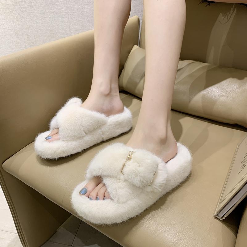 Shoes Home Slippers Women's Winter Footwear Pantofle Slides Flock Loafers Low Fur Flip Flops Platform Massage 2020 Flat Plush F1224