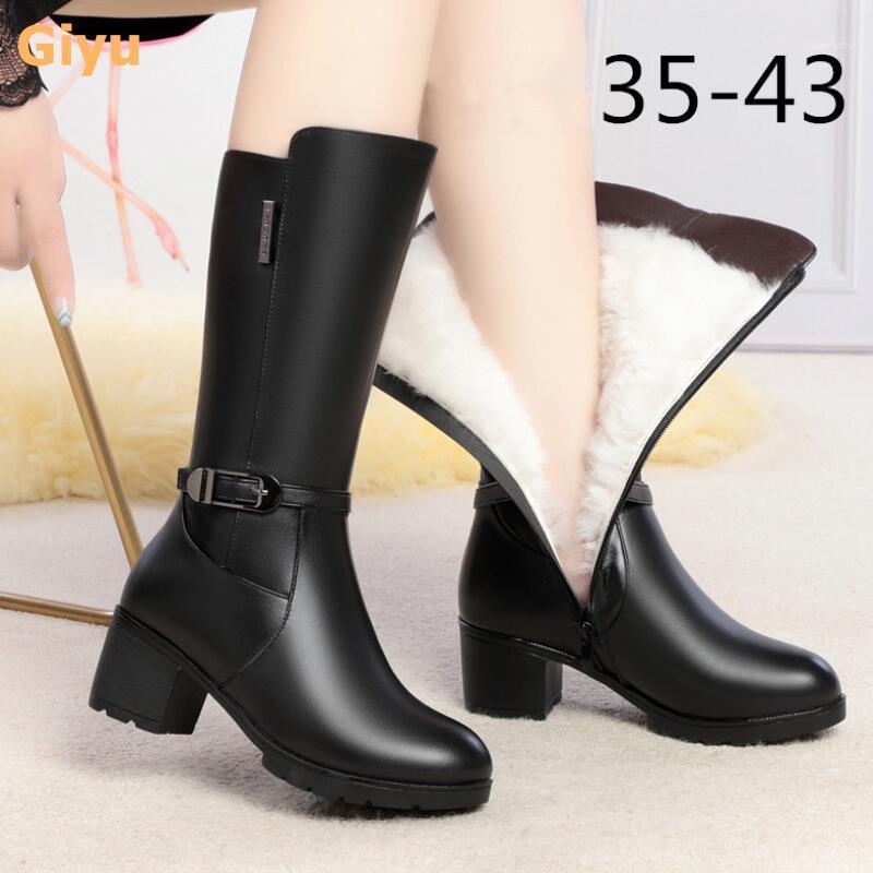 Бренд Натуральная кожа женские сапоги мода на высоком каблуке шерстяные сапоги толстые с плюс размер зимняя обувь мотоцикл колена1