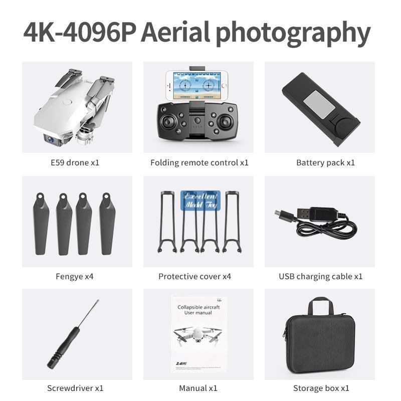 E59 4K كاميرا wifi fpv البسيطة المبتدئين لعبة الطائرة، تتبع رحلة، الارتفاع عقد، زر واحد عودة، لفتة التقاط الصورة، عيد الميلاد كيد هدية، 3-2