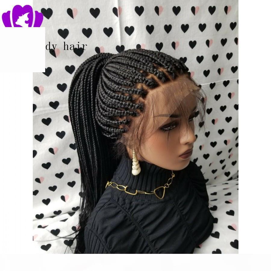 Caja de venta caliente trenzas pelucas con cabello bebé negro brasileño encaje completo peluca frontal resistente al calor sintético peluca trenzada para mujeres negras
