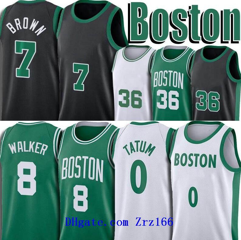 Men Jayson 0 Tatum Jersey Jersey Jaylen 7 maglie marroni Kemba 8 Walker Uniform MARCUS 36 Smart Basket Panorami retrò Green Bianco No 33 Jestey