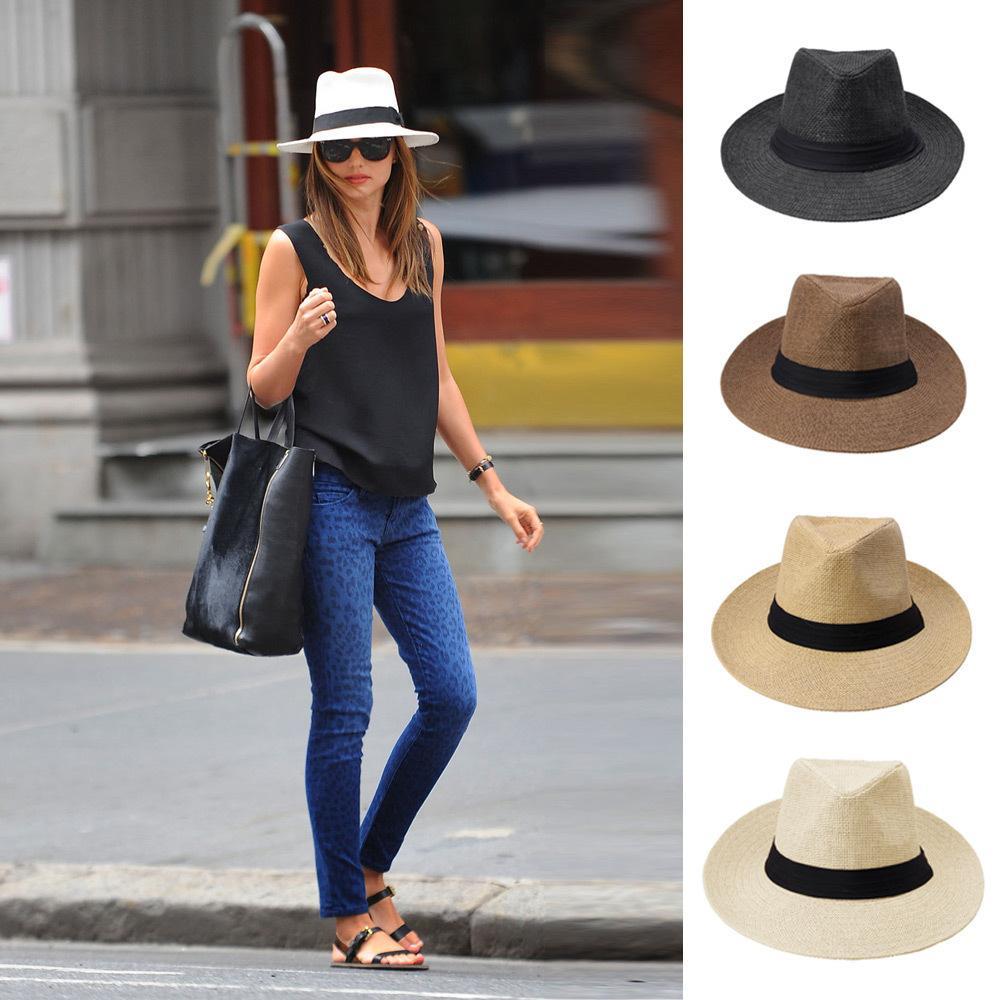 Large Brim Straw Chapeaux Fashion Dames Chapeau Sun Chapeau Été Chapeau de paille Hommes et Femmes Cowboy Hat Summer Beach Cap 6 couleurs LLS 334