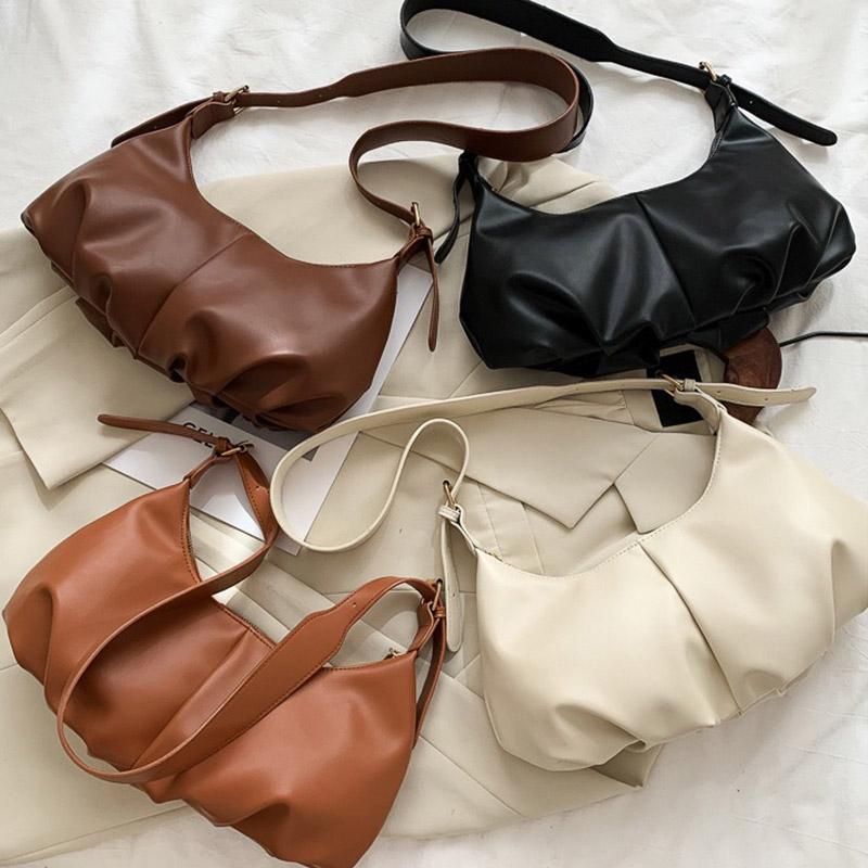 Femmes Dumplings Crossbody for Sac à main à l'épaule à moitié plissé Sacs à main Sacs petite sous-arme 2020 Toile