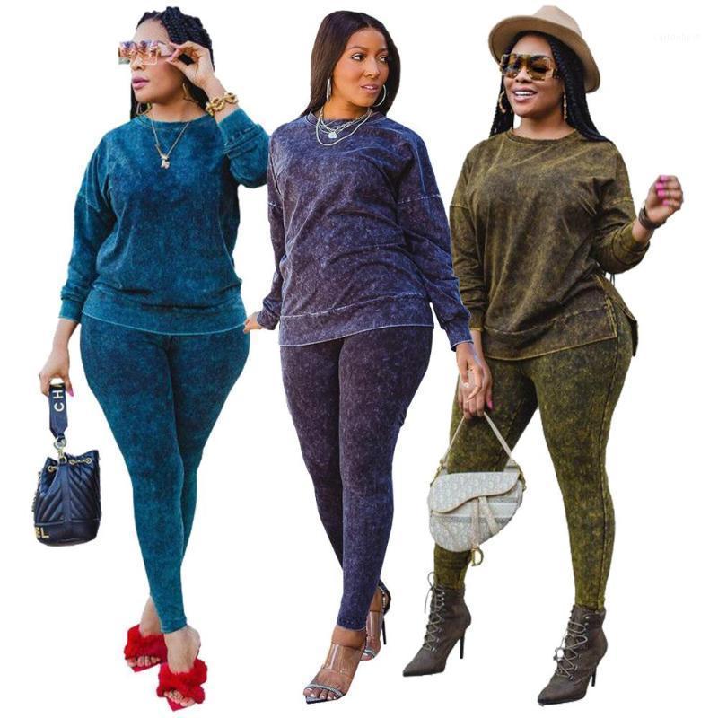 2020 Sonbahar Kış Kadın Baskı Rahat İki Parçalı Setleri Yüksek Bel Spor Pantolon + O-Boyun Tam Kollu Tişörtü Eşofman1