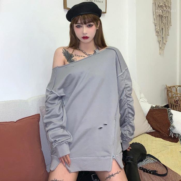 Gevşek Streetwear Kapalı Omuz İlkbahar Sonbahar kadın Giyim Kazaklar Moda Marka Hipster Boy Hoodie Kadın Sweatshirt1