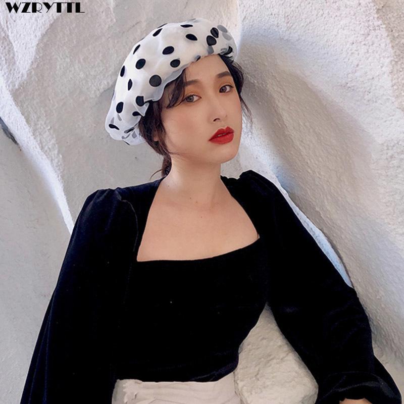 Nouvelle mode organza coton bérets chapeau d'été femmes élégant mignon points noirs doux fille béret dames blanc béret noire béret dropshipping lj201105