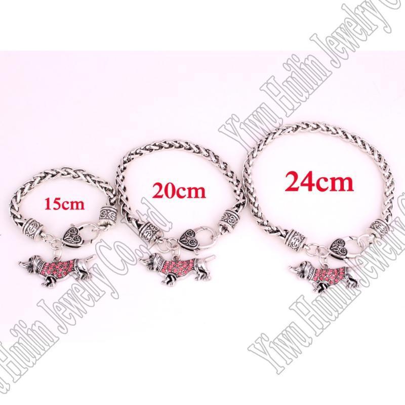 15 cm / 20cm / 24cm A Set Zinc Studded With Crystals Dachshund Colgante Pulsera Link Chain