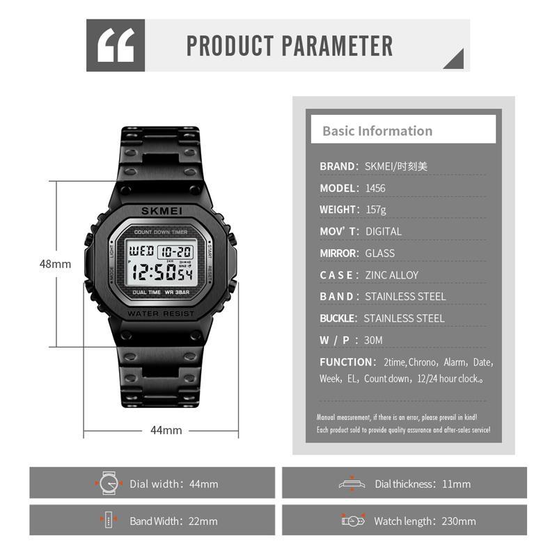 Skmei Mens Guarda orologi sportivi Digital Sport di Lusso in acciaio inox Impermeabile da polso da polso Count Down Sveglia Bracciale da uomo