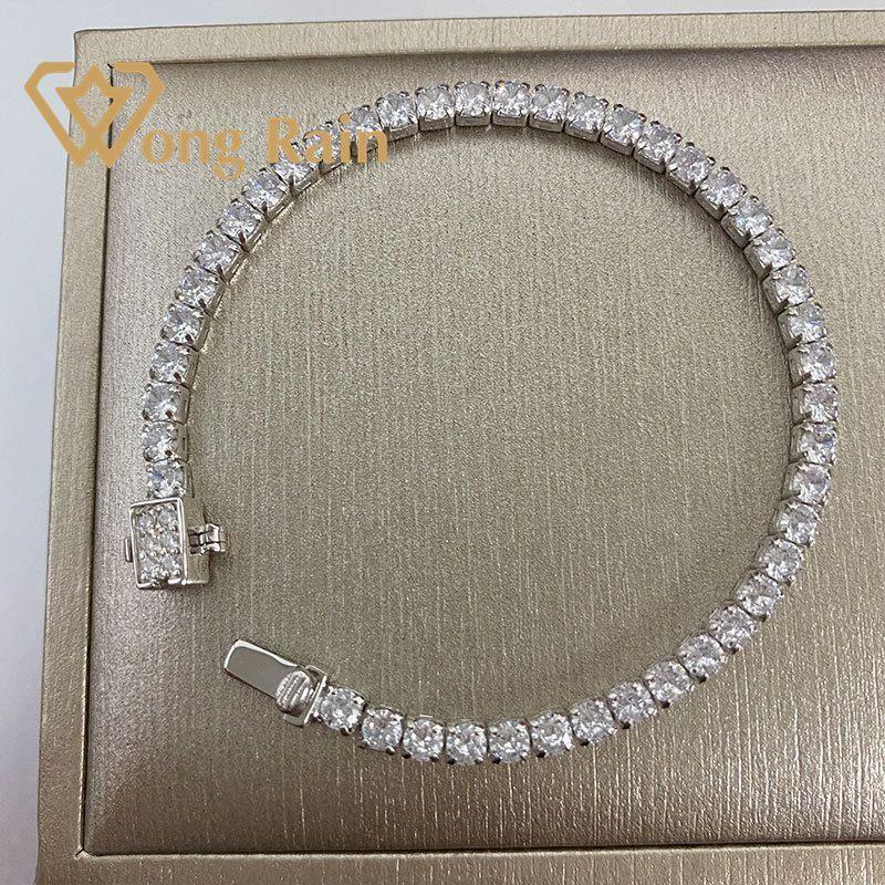 Wong Lluvia 100% 925 plata esterlina 3 * 3 mm creado Moissanite Gemstone Bangle Charm Boda Pulsera de boda Joyería fina al por mayor CX200702