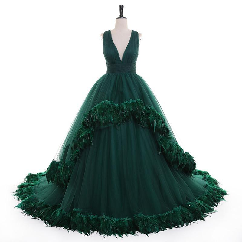 Green Flare Sleeve Feather Tulle Party Evening Dresses 2021 Luxury Sexy Deep V Neck Fur Formal Prom Dress Gowns robe de soire