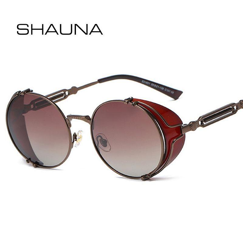 Sunglasses SHAUNA Retro Polarized Steampunk Spring Hinge Round Gothic Rock Sun Glasses Punk Shades UV400