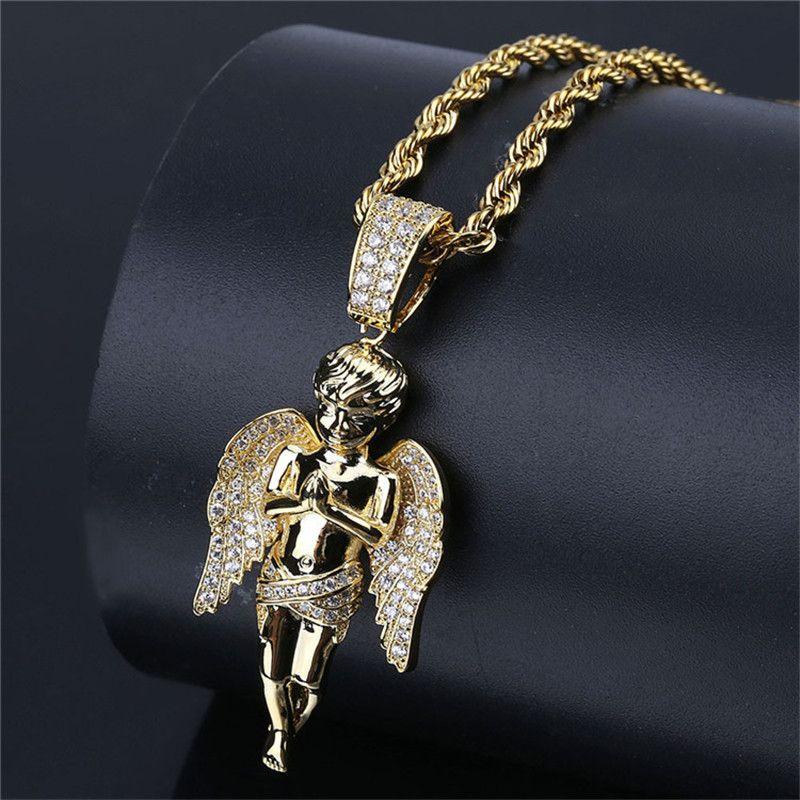 Ángel colgante de circón con cadena de oro para hombres collar de moda KTUZ