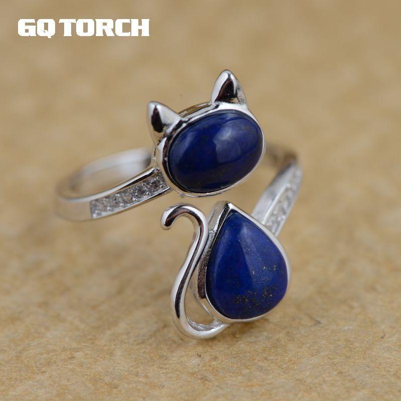Real 925 Sterling Silver Lapis Lazuli Natural Stone Ring Anelli per gatti adorabili per le donne squisiti gioielli raffinati Z1121