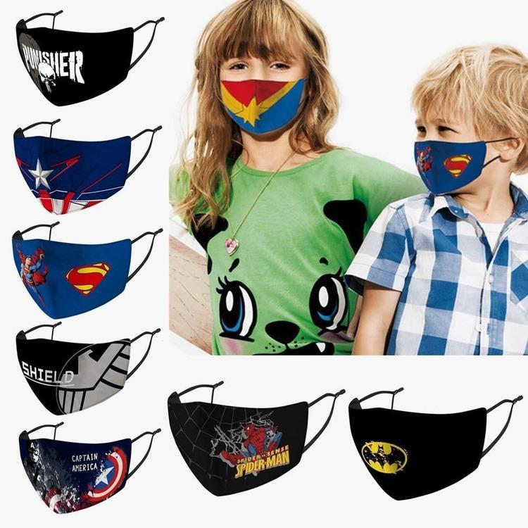 Nueva moda niños dibujos animados impreso máscara lavable cara transpirable anti polvo respirador antibacteriano reutilizable máscaras infantiles 14 estilos