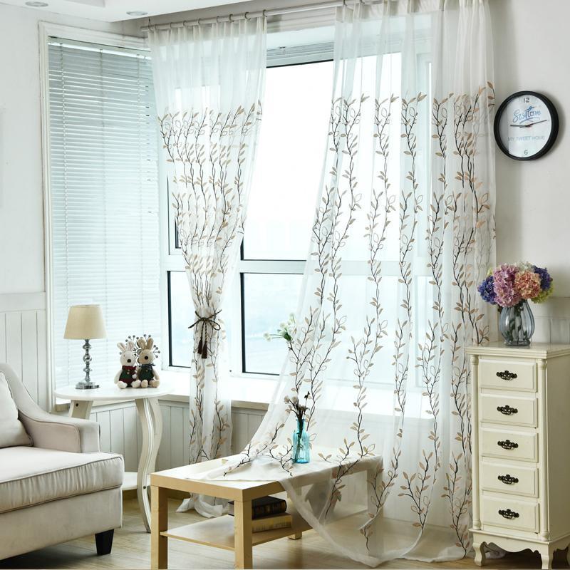 Cortina de hojas de hoja de sauce verde para la ventana de la sala de estar decoración del hogar para la decoración de los dramas del dormitorio cortina de tul verde organza verde