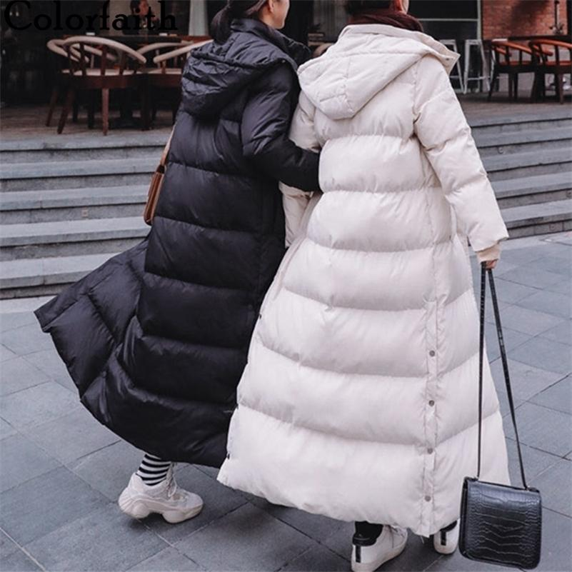 Colorfaith New Autumn Winter Women Long Jacket Pockets Quilted Hem Split Puffer Parkas High-Quality Hooded Warm Coat CO811 201211