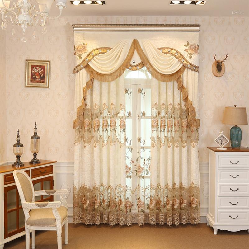 Avrupa Lüks Üst Işlemeli Kadife Pencere Perdeleri Oturma Odası Için High-end Özel Klasik Villa Yatak Odası için Düz Perde1