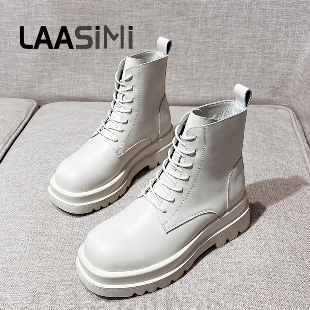 منصة Laasimi Laarzen للنساء استعادة حقيقي تعلم واحدة الدانتيل يصل أحذية الشتاء الأحذية النسائية الأزياء الشرير