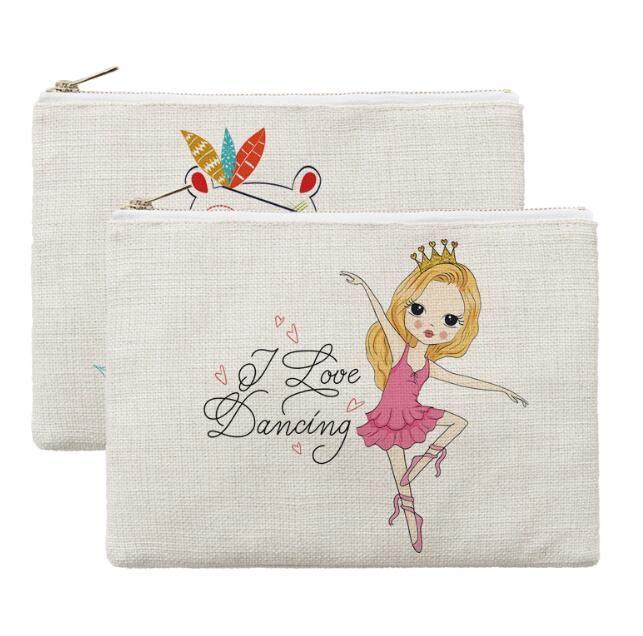 50 adet 23 cm x 16 cm Süblimasyon Keten Kozmetik Çantaları DIY Kadınlar Boş Düz Altın Fermuar Makyaj Çantası Telefon Debriyaj Çanta