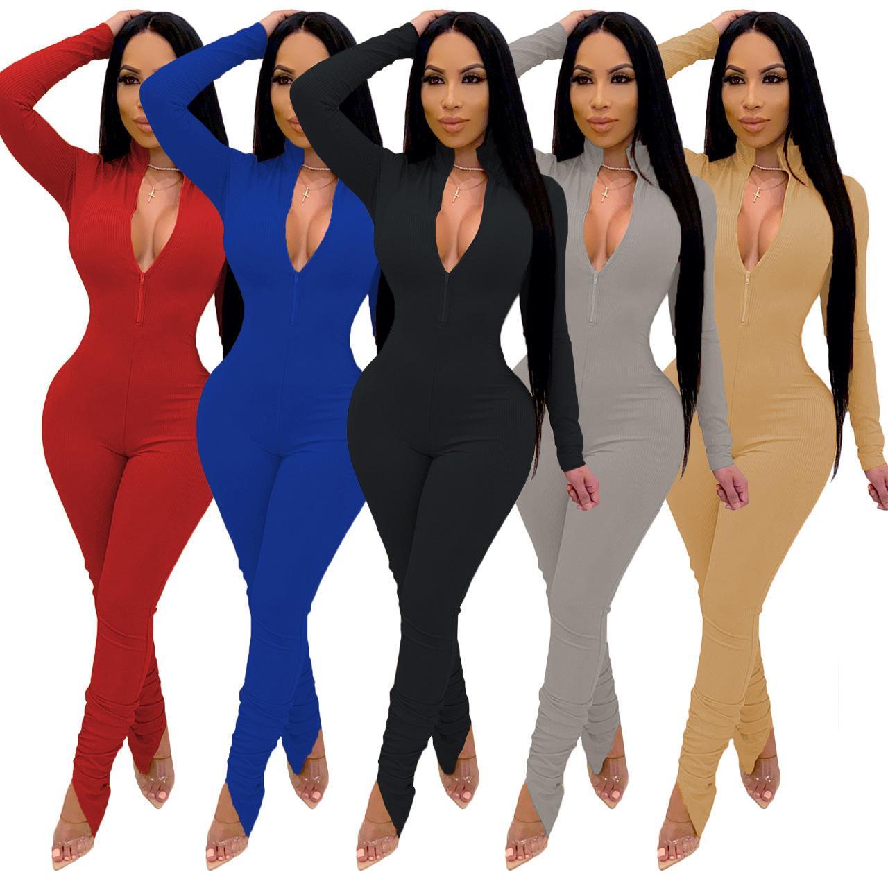 Sonbahar 2020 kadın Klasik Katı Renk Pileli Kazık Tulum Moda Tasarımcısı Stil Katı Renk Uzun Kollu Derin V Seksi Tulum