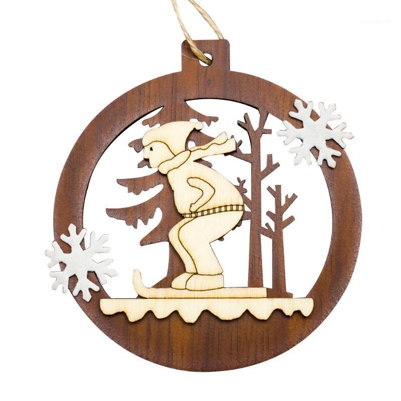 Natal oco redondo pingente de pingente criativo árvore de Natal ornamentos de madeira pingentes kanone estilo partido suprimentos diy1