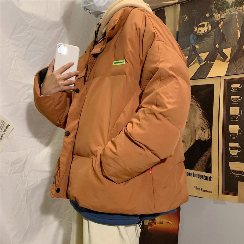 Мужские пуховые Parkas зимняя толстая куртка мужская теплая мода Parka мужчины сплошной цвет повседневное пальто человек уличная одежда дикий свободный хлопок Male1
