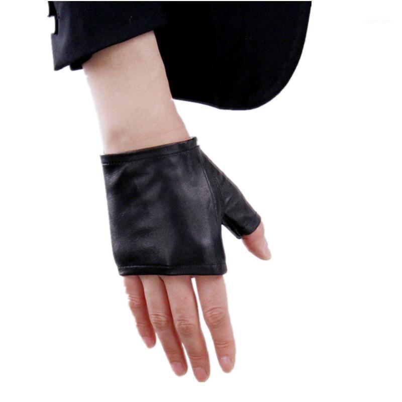 Moda Yarım Parmak Kadınlar Koyun Eldiven Hakiki Deri Sürüş Eldiven Kadınlar Katı Siyah Parmaksız Mittens1