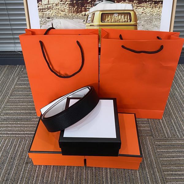 2021 Cinture di alta qualità per le donne da donna H Lettere Big Gold Fibbia Cintura con scatola in vita arancione