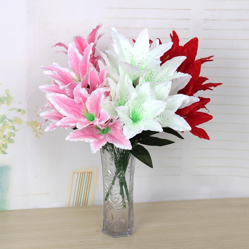 10 cabeças lírio artificial flor flor orquídea diy casa festa de casamento festival artesanato arcos fundo decorativo flor falsa