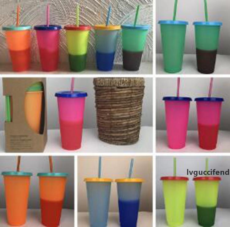 Cold Corlor изменить кружку чашку с крышкой и соломой пищевой цен PP волшебный термочувствительный чашка творческих подарочных чашек для детей 700 мл Йсии99