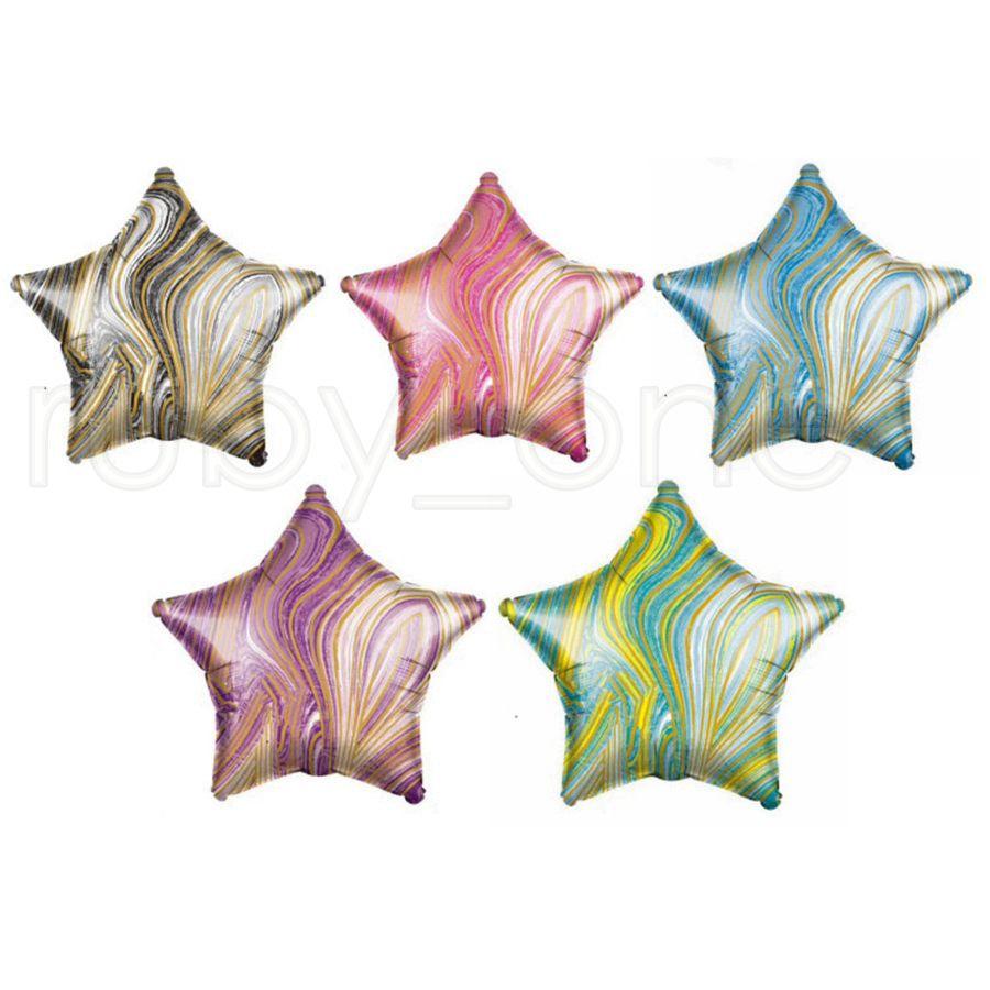 18-дюймовый Агатовые пятиконечная звезда шар 18 дюймов в форме сердца Круглый пятиконечная звезда алюминиевая фольга шары день рождения украшения шарика RRA3831