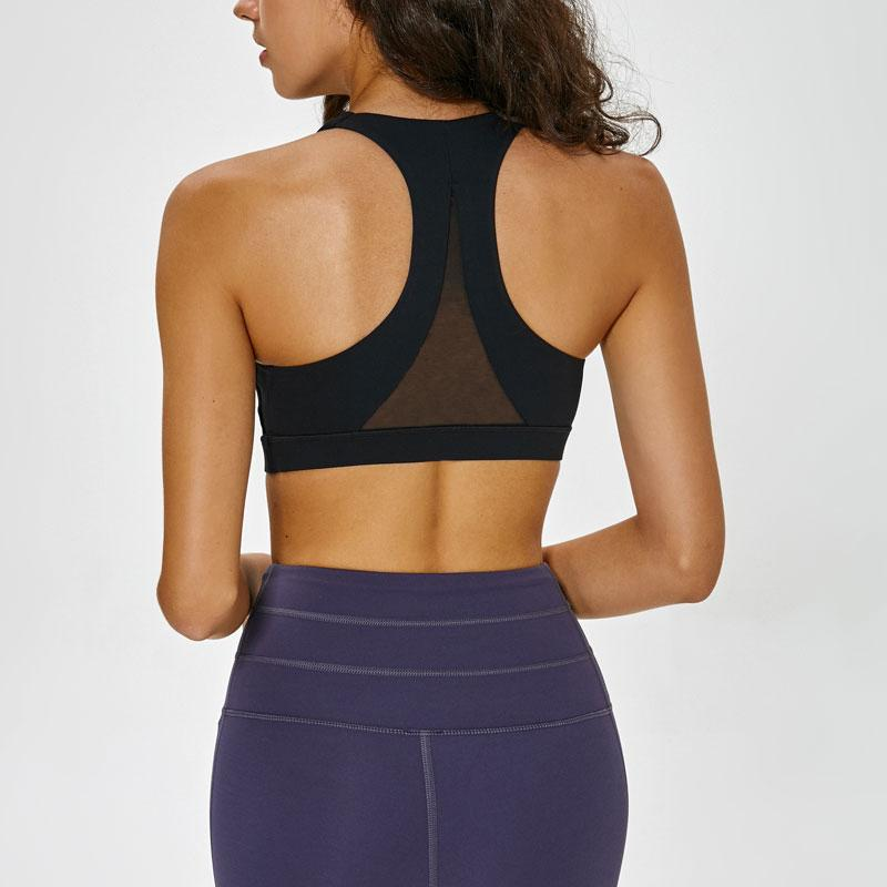 Malha patchwork esportes sutiã top para mulheres aptidão alto suporte push up ladies yoga brassier alça de ombro duplo menina menina desgaste ativo l-22