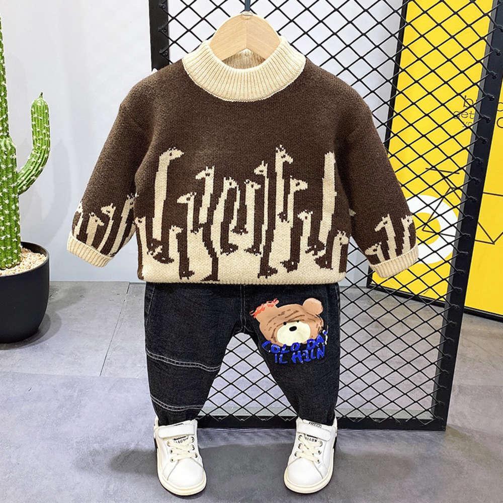 T-shirt de bébé exotique d'automne et de garçons en peluche d'hiver Pull de vison épaissié coréen coréen
