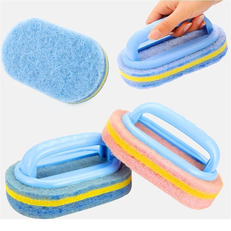 Bathroom Toilet Kitchen Cleaning Kitchen Glass Wall Cleaning Bath Brush Plastic Handle Sponge Bat sqcfjZ