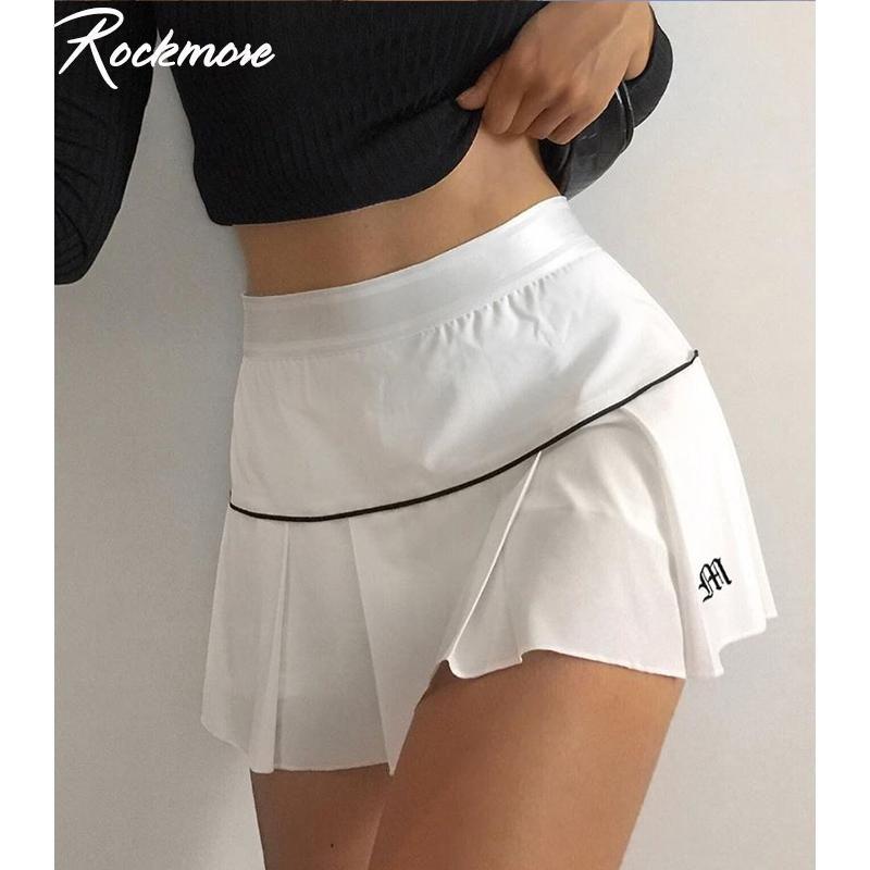Rockmore Y2K الجمالية مثير التنانير البسيطة عالية مخصر إلكتروني مطوي طباعة المتناثرة الكورية نمط الملابس تنورة بيضاء نادي النادي