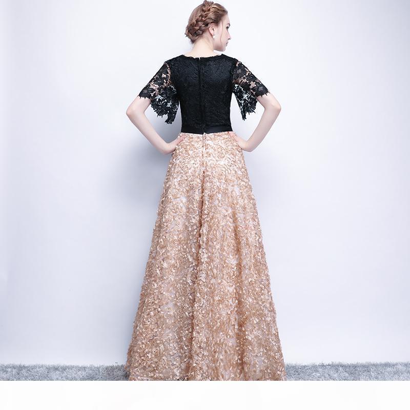 Socci 주말 신부 드레스의 우아한 어머니 검은 레이스 꽃 여성 공식 파티 드레스 이브닝 가운 가운 가운 드 Soiree SH190708